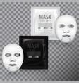 realistic facial sheet mask and sachet vector image