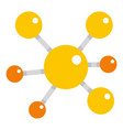 Yellow molecular model icon isolated vector image