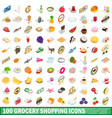 100 grocery shopping icons set isometric 3d style vector image