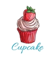Strawberry cupcake or muffin sketch vector image
