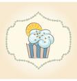 cupcake with orange slice vector image