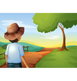 A backview of a young farmer vector image vector image