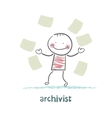 archivist of paper flying around vector image vector image