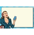Businesswoman with smartphone in hand vector image