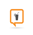 square orange speech bubble with glass of juice vector image
