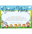 Certificate design with children and teacher vector image