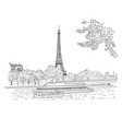 city sketching on white background paris vector image