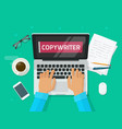 copywriter working on laptop writing article vector image