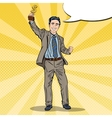 Pop Art Businessman with Golden Winners Cup vector image