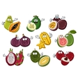 Smiling and happy cartoon fruits with hands vector image