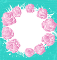 wreath of pink roses flowers on green background vector image