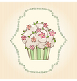 cupcake with flowers and leaves vector image