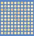 100 world tour icons set cartoon vector image