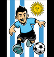 Uruguay soccer player with flag background vector image