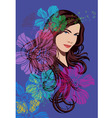 beautiful girl and flowers vector image vector image