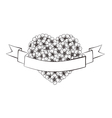 Black and white outline flowers in a heart shape vector image