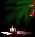 tree small candle and cards vector image vector image