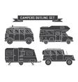 Auto Travel Cars and Campers Outline Icons vector image