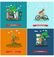 set of bicycle types concept posters in vector image