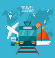 travel around the world transport vehicles vector image