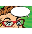 Woman in glasses surprised eyes vector image