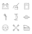 Renovation for machine icons set outline style vector image