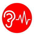 ear hearing sound sign  white icon in red vector image