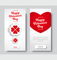 set vertical white banners happy valentines day vector image