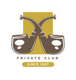 private club logo with two crossed smoking pipes vector image