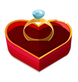 red heart box with ring vector image vector image