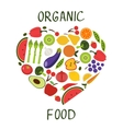 Ogranic food concept card with fresh vegetables vector image