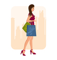 girl with shopping vector image