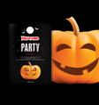 halloween night party with scary pumpkins design vector image