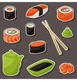 Icon set of various sushi vector image