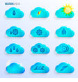 Light Blue Clouds with Weather Signs vector image