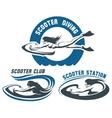 Scooter Diving Club emblem set vector image