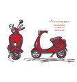 set of hand-drawn red scooters ink brush sketch vector image