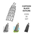 tower of pisa in italy icon in cartoon style vector image