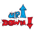 up and down symbols lettering hand drawing vector image