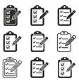 Clipboard pencil icon set vector image