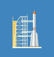 Rocket launched from station into air vector image