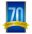 70 anniversary label vector image