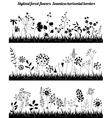Seamless horizontal borders with stylized growing vector image vector image