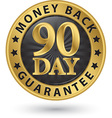 90 day money back guarantee golden sign vector image