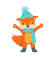 cute orange fox character wearing in a light blue vector image