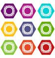 lifebuoy icon set color hexahedron vector image