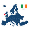 map of europe with highlighted ireland vector image