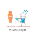 rheumatologist with a syringe in his hand standing vector image