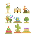 Spring and Flowers Flat Set vector image