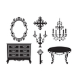 collection of furniture in the Baroque style - vector image